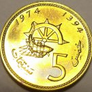 Morocco 5 Santimat, 1974 Rare Proof~Captains Wheel~Netted Fish~20k Minted~Fr/Shi