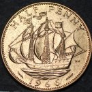 Great Britain 1/2 Penny, 1966 Unc~The Golden Hind~Free Shipping