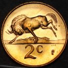 South Africa 2 Cents, 1966 Proof~Rare~Only 25,000 Minted~Wildebeest Free Ship