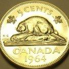 Canada 5 Cents 1964 Proof-Like~Elizabeth II~Beaver~Free Shipping
