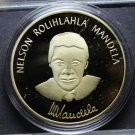 Nelson Mandela Gold Plated 40.2mm Proof Medallion~Read The Story~Robben Island~
