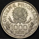 Brazil 1000 Reis, 1913 Silver Gem Unc~Over 100 Years Old~Free Shipping