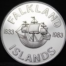 Falkland Islands 50 Pence, 1983 Silver Proof~10k minted~150th Anniv British Rule