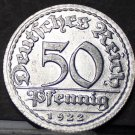 Germany 50 Pfennig, 1922-D Uncirculated~Minted In Munich~Fantastic~Free Ship