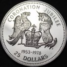 Barbados 25 Dollars, 1978 Silver Proof~8,728 Mnted~Coronation Jubilee~RARE~Fr/Sh