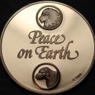Solid Bronze Proof Franklin Mint Medallion~Peace On Earth Lion & Lamb