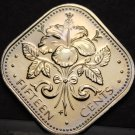 Bahamas 15 Cents, 1978 Rare Proof~6,931 Minted~Triangle Coin~Free Shipping