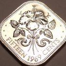 Bahamas 15 Cents, 1969 Rare Proof~10,000 Minted~Triangle Coin~Free Shipping