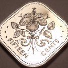 Bahamas 15 Cents, 1977 Rare Proof~11,000 Minted~Triangle Coin~Free Shipping