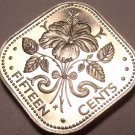 Bahamas 15 Cents, 1975 Rare Proof~29,000 Minted~Triangle Coin~Free Shipping