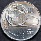 Czechoslovakia 10 Korun, 1966 Gem Unc Silver~1100th Anniv Of Great Moravia~Fr/Sh