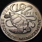 Seychelles 10 Rupees FAO, 1977 Unc~Green Sea Turtle~Free Shipping