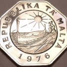 Large Rare Proof Malta 1976 25 Cents~Sun And Canoe~26,000 Minted~Free Shipping