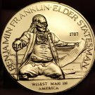 Benjamin Franklin 24k Gold Plated Wisest Man In America~Cradle Of Liberty Medal