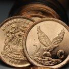 Gem Unc Roll (40) South Africa 1997 2 Cents~Eagle With Talons~Venda Legend~Fr/Sh