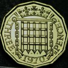 Great Britain 3 Pence, 1970 Proof~Crowned Porticullis~Last Year Ever~Free Ship