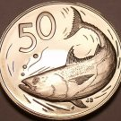 Cook Islands 50 Cents, 1977 Rare Proof~5,986 Minted~Bonito Fish~Free Shipping