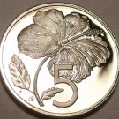 Cook Islands 5 Cents, 1974 Rare Proof~7,300 Minted~Hibiscus~Free Shipping