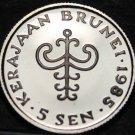 Brunei 5 Sen, 1985 Rare Proof~Sultan Hassanal Bolkiah~10,000 Minted~Free Ship