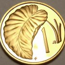 Cook Islands Cent, 1974 Rare Proof~7,300 Minted~Taro Leaf~Free Shipping