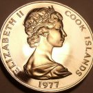 Cook Islands 5 Cents, 1977 Rare Proof~5,986 Minted~Hibiscus~Free Shipping