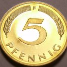 Germany 5 Pfennig, 1979-F Proof~Only 89,000 Minted~Minted In Stuttgart~Free Ship