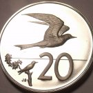 Cook Islands 20 Cents, 1974 Cameo Proof~7,300 Minted~Fairy Tern~Free Shipping
