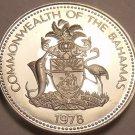 Bahamas 25 Cents, 1978 Rare Proof~6,931 Minted~Bahamian Sloop~Free Shipping