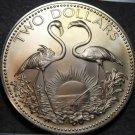 Bahamas 2 Dollars, 1974 Gem Unc~RARE~37,000 Minted~Flamingo's~Free Shipping