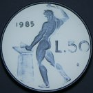 Italy 50 Lire, 1985 Proof~RARE~20,000 Minted~Vulcan Hammering on a Anvil~Free Sh