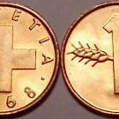 Switzerland Rappen, 1968 Gem Unc~Bronze~Free Shipping