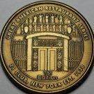 Large 40.2mm Delmonico's Restaurant New York City Bronze Medallion~Est 1838~Fr/S