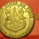 Massive 105mm X 9mm Thick Solid Brass U.S. Air Force Civil Engineering Plaque~FS