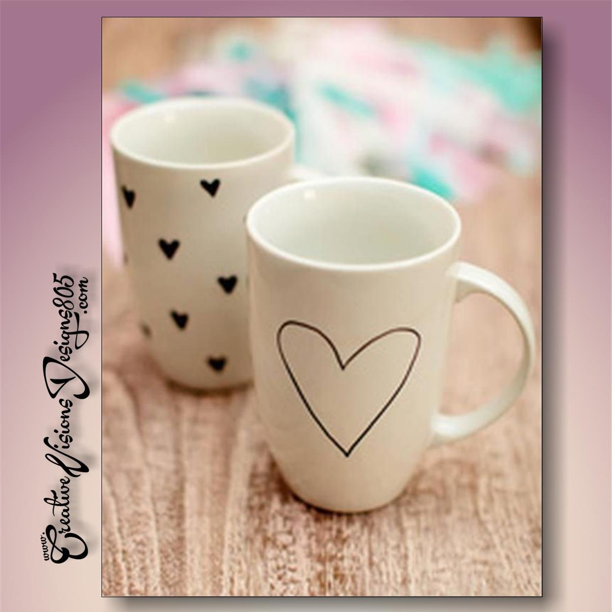 BIG HEART or MINI HEARTS - hand decorated coffee mug