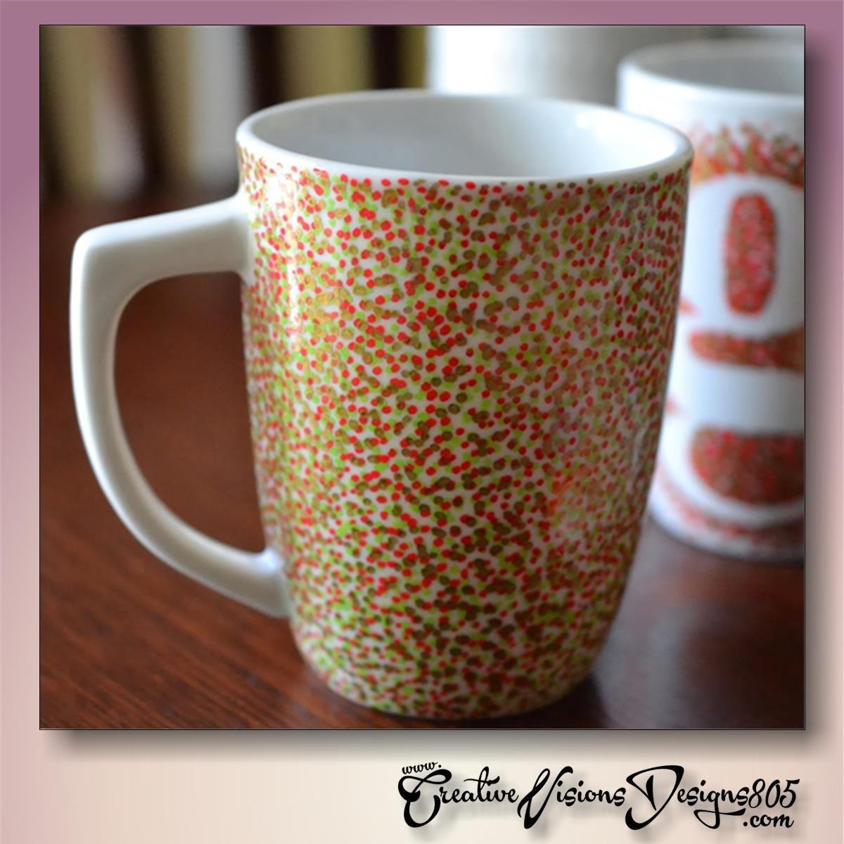 MULTI COLORED MINI DOTS - hand decorated coffee mug