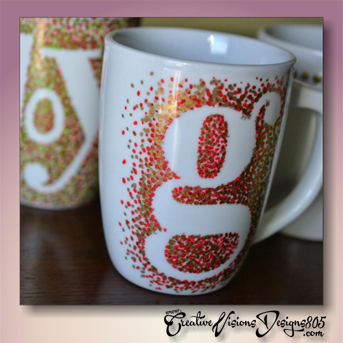 POLKA DOTS INITIAL SHILOUETTE - hand decorated coffee mug