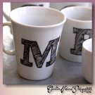 PEN SKETCHED INITIAL - hand decorated coffee mug