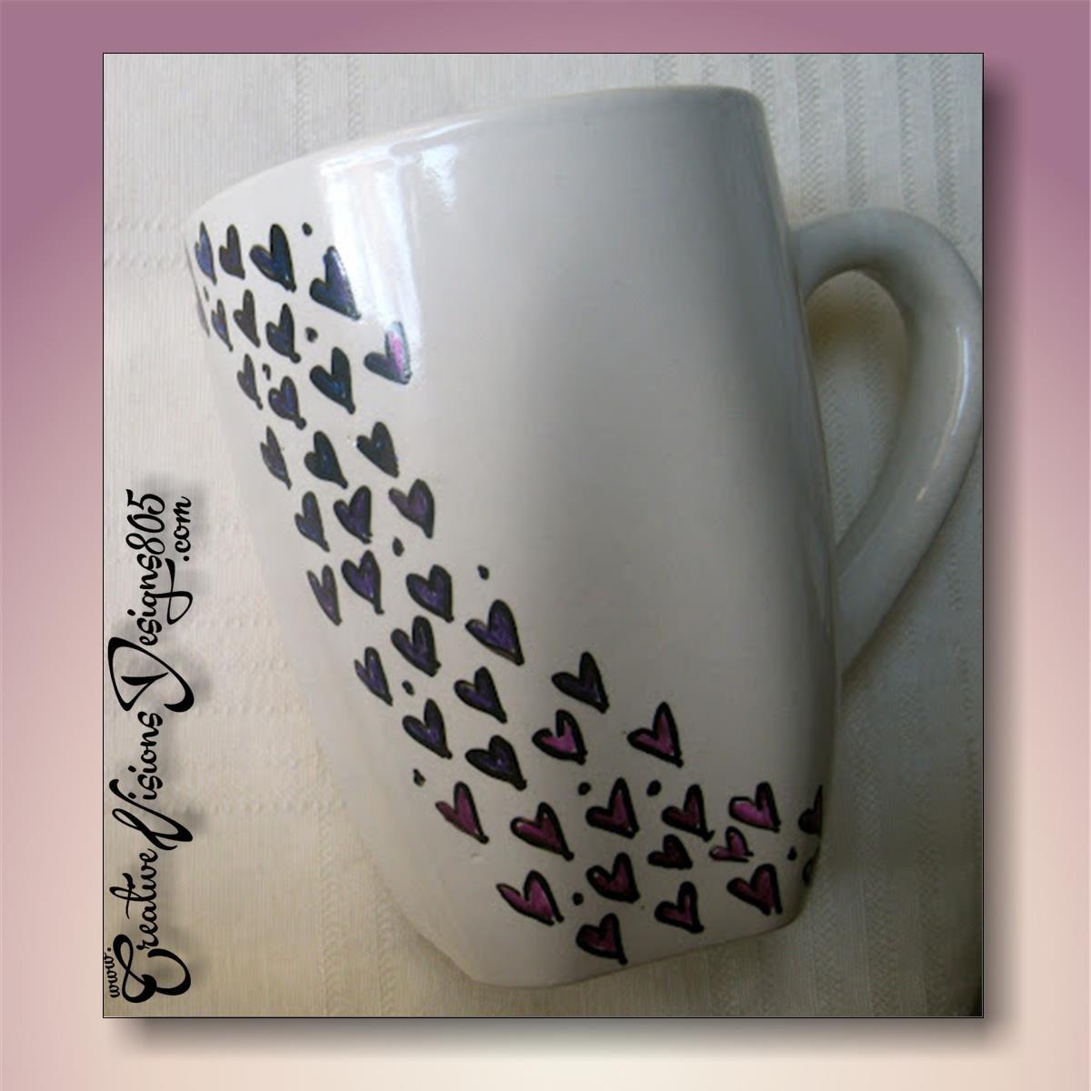 FOLLOW THE HEARTS - hand decorated coffee mug