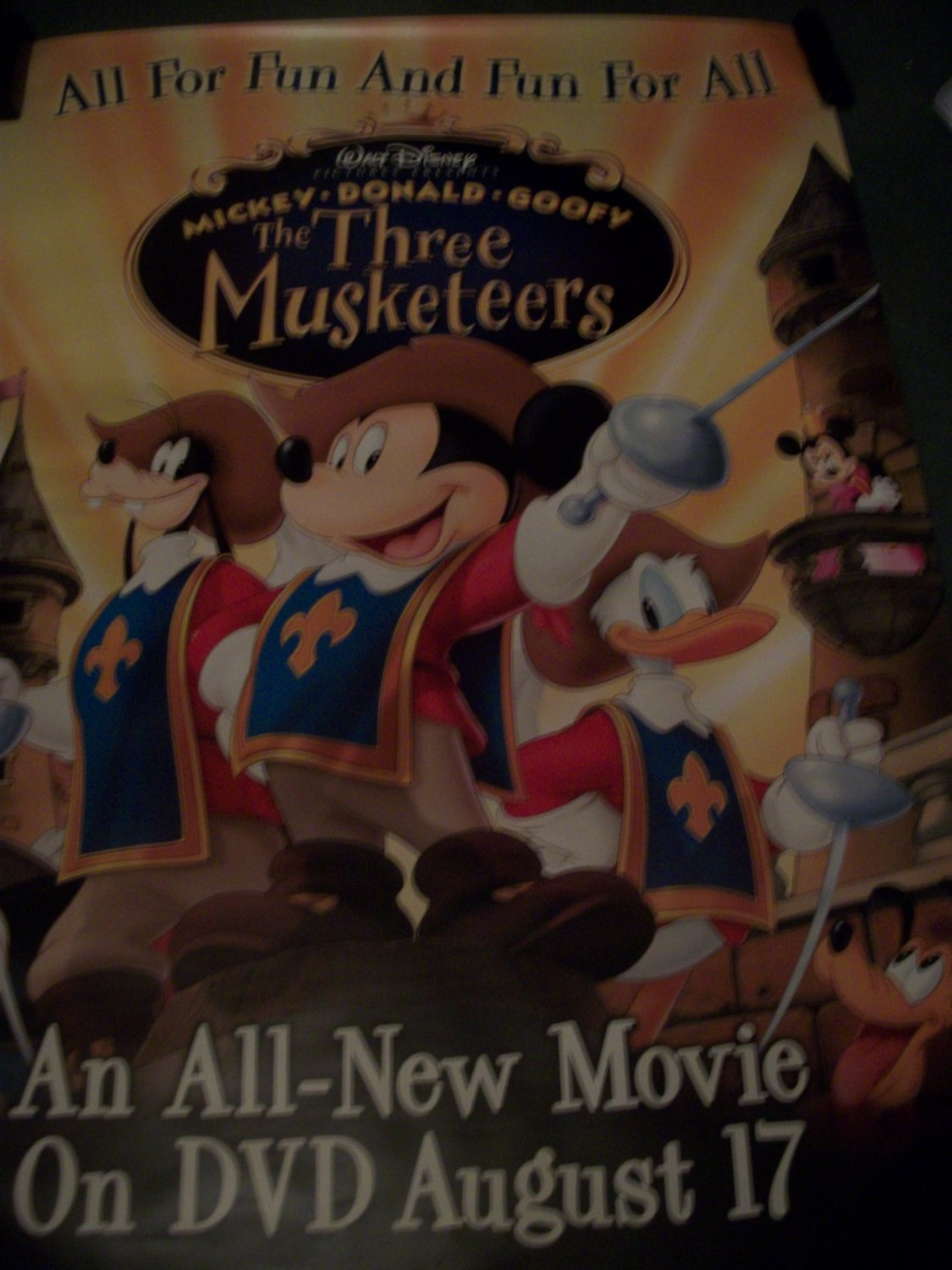 Disney'sThe Three Musketeers Mickey/Goofy/Donald Movie Poster Approx. 48 X 69