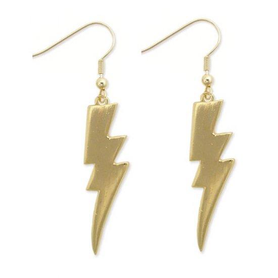 NEW WAVE RETRO STYLE GOLD LIGHTNING BOLT EARRINGS