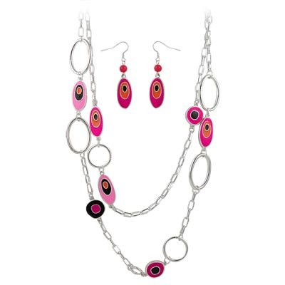 DESIGNER STYLE OVAL MEDALLIONS DOUBLE ROW NECKLACE SET