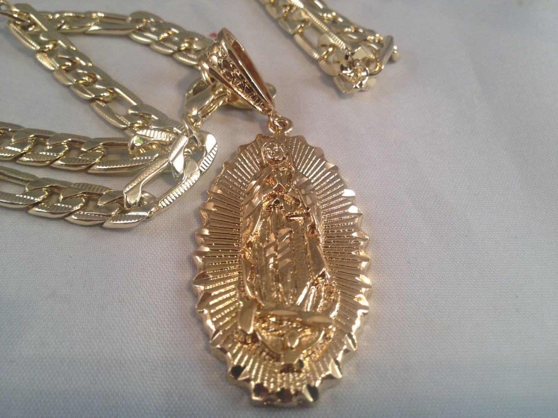 Virgen De Guadalupe Cadena Medalla Oro K 26 Quot Quot Grande