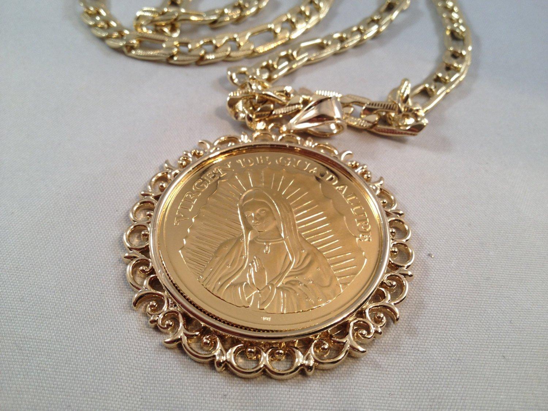 Jesus Christ Virgen De Guadalupe Cadena Oro K 26