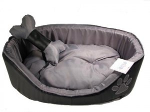 Black Leather Pooch Bed-w/ Toy Bone
