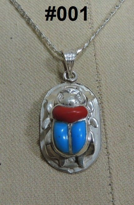 """Hall marked Egyptian Pharaonic Silver Pendant  """"Scarab, Lotus  And Ankh """""""