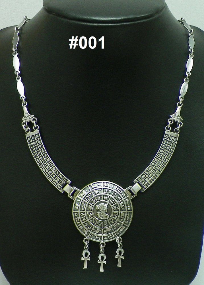 Hall marked Egyptian Pharaoh Silver Decorated Necklace , Real silver not plated