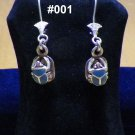 Hall marked Egyptian, Pharaonic, Authentic Silver Earrings,Scarab,Lotus And Ankh