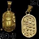 Egyptian Hall Marked 18 Karat Gold pendant, Egypt Pharao's Scarab