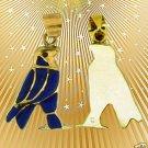 Egyptian Hall Marked 18 Karat Gold pendant, Egypt Pharao's Horus With Lapis