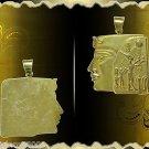 Egyptian Hall Marked 18 Karat Gold pendant, Egypt Pharao's Queens , Hatsheput